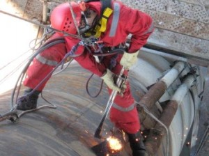 welding on an oil rig